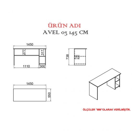 Kalender Dekor Avel 03 145 cm Çalışma Masası ATLANTİKÇAM/BEYAZ