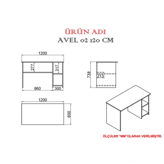 Kalender Dekor Avel Mayra 120 cm Çalışma Masası Takımı CEVİZ/BEYAZ