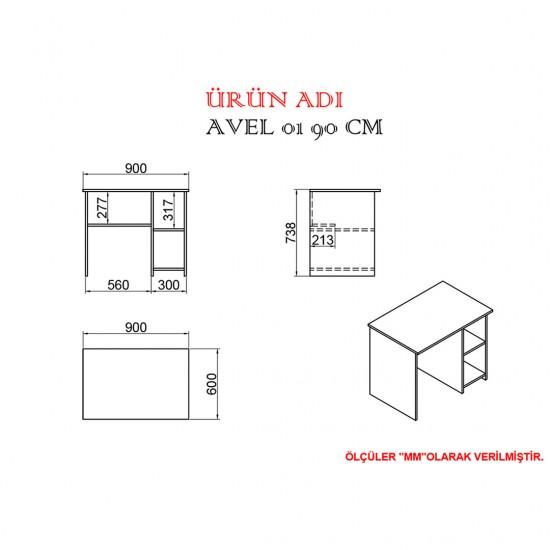 Kalender Dekor Avel Snow 90 cm Çalışma Masası Takımı CEVİZ/BEYAZ
