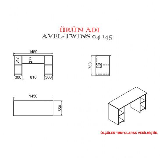 Kalender Dekor Avel-Twins Mayra 145 cm Çalışma Masası Takımı ATLANTİKÇAM