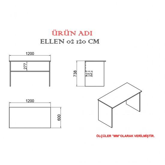 Kalender Dekor Ellen Mayra 120 cm Çalışma Masası Takımı ATLANTİKÇAM/BEYAZ