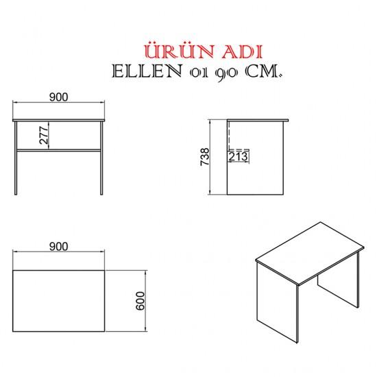 Kalender Dekor Ellen 01 90 cm Çalışma Masası CEVİZ-BEYAZ