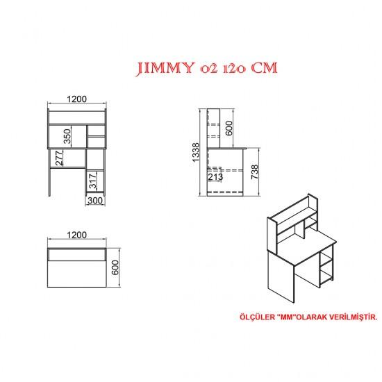 Kalender Dekor Jimmy Mayra 120 cm Çalışma Masası Takımı JMM02