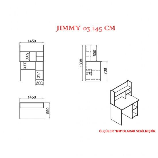 Kalender Dekor Jimmy Mayra 145 cm Çalışma Masası Takımı JMM02