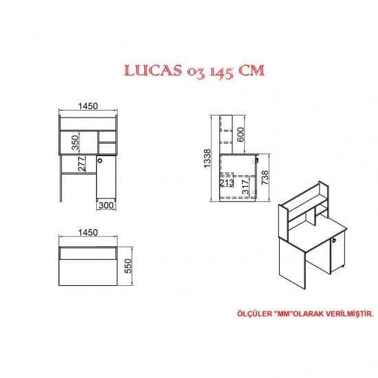 Kalender Dekor Lucas 03 145 cm Çalışma Masası LC04