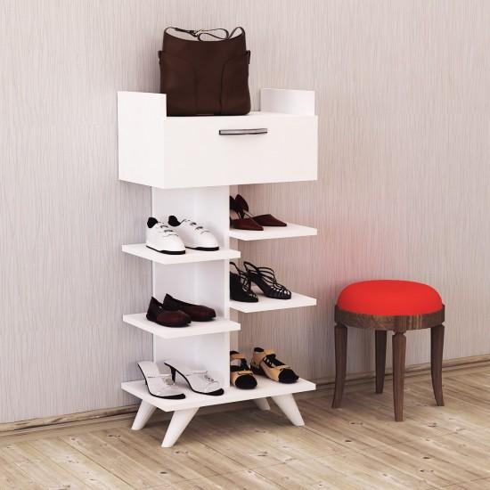 Kalender Dekor Doris 4 Raflı Ayakkabılık Beyaz