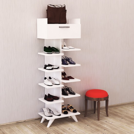 Kalender Dekor Doris 8 Raflı Ayakkabılık Beyaz