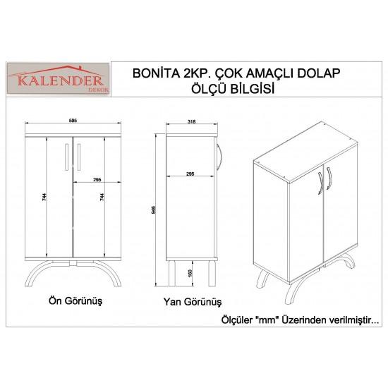 Kalender Dekor Bonita Çok Amaçlı Banyo Dolabı Ceviz-Beyaz