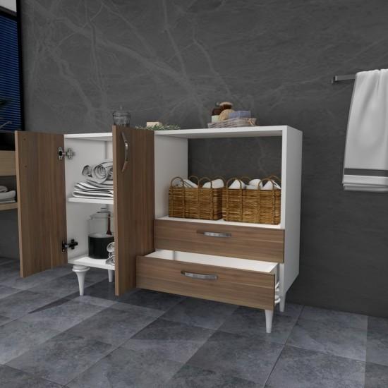 Kalender Dekor İgnis Çok Amaçlı Banyo Dolabı Ceviz-Beyaz