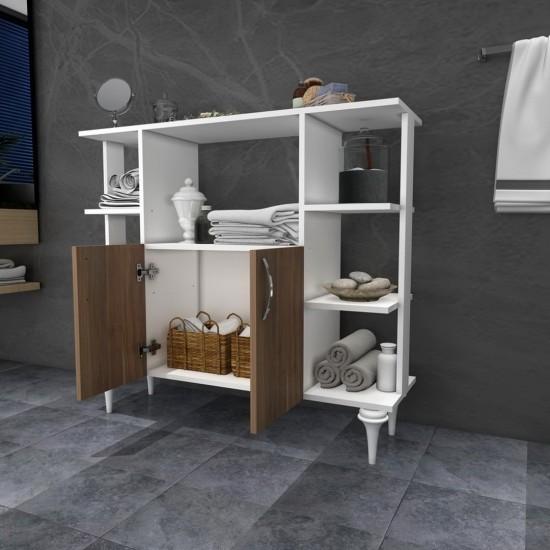 Kalender Dekor Libor Çok Amaçlı Banyo Dolabı Ceviz-Beyaz