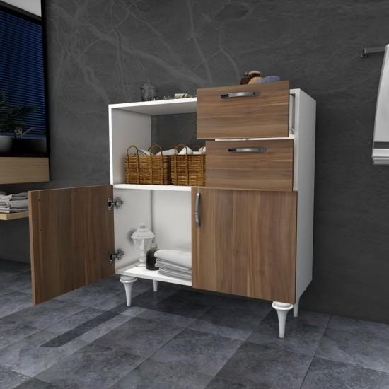Kalender Dekor Marvic Çok Amaçlı Banyo Dolabı Ceviz-Beyaz