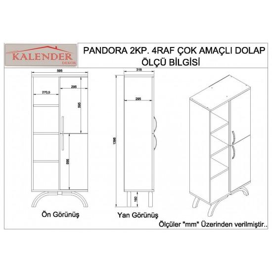 Kalender Dekor Pandora Çok Amaçlı Banyo Dolabı Ceviz-Beyaz
