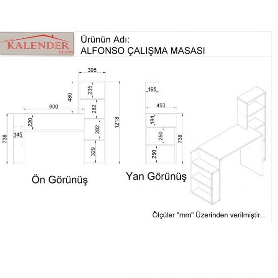 Kalender Dekor Alfonzo Çalışma Masası Beyaz