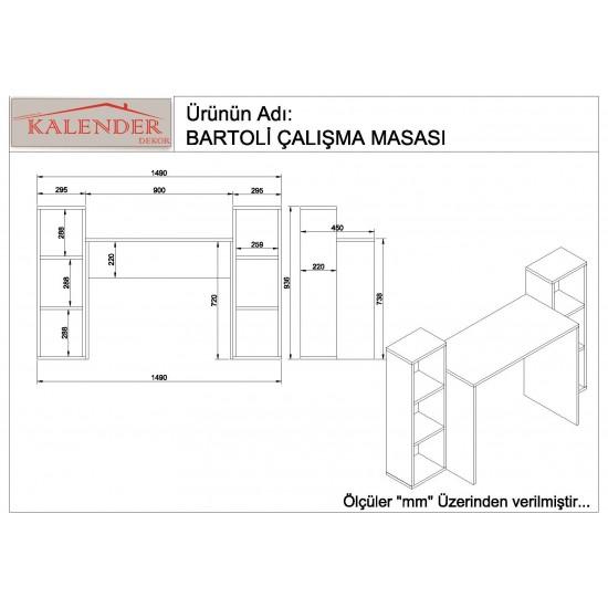Kalender Dekor Bartoli Çalışma Masası Ceviz-Beyaz