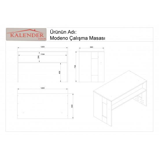 Kalender Dekor Carlina Çalışma Masası Ceviz-Beyaz