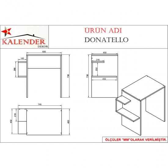 Kalender Dekor Donatello Çalışma Masası ceviz-Beyaz