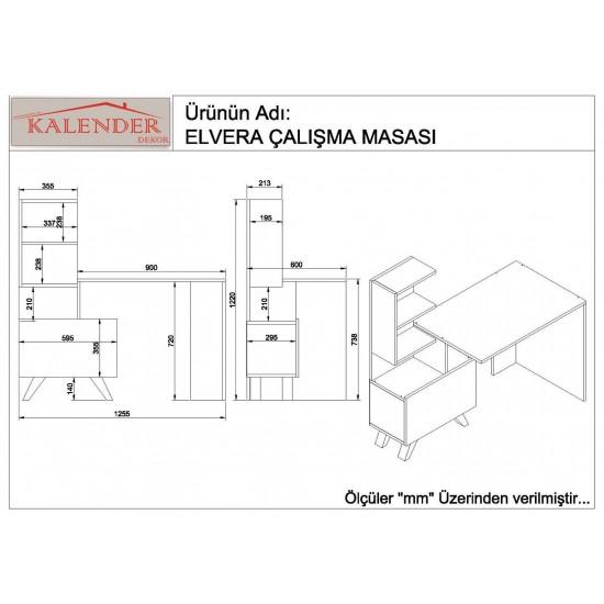 Kalender Dekor Elvera Çalışma Masası Ceviz-Beyaz