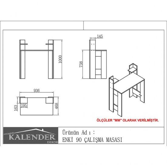 Kalender Dekor Enki 90cm Çalışma Masası Ceviz-Beyaz