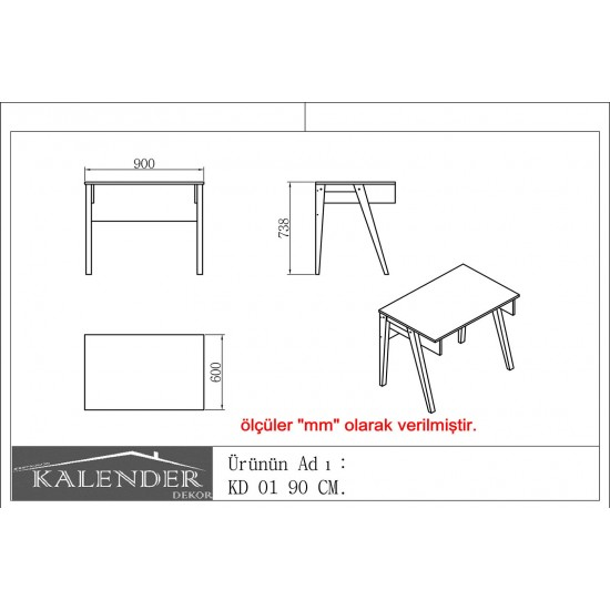 Kalender Dekor KD-01 Çalışma Masası Ceviz