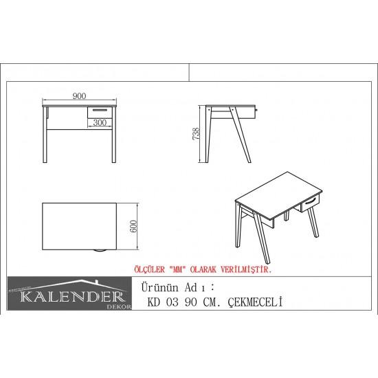 Kalender Dekor KD-03 Çalışma Masası Ceviz
