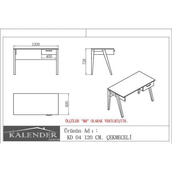 Kalender Dekor KD-04 Çalışma Masası Ceviz-Beyaz