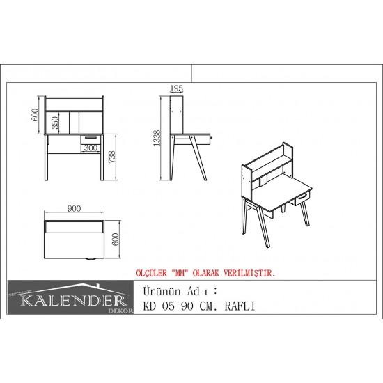 Kalender Dekor KD-05 Çalışma Masası Ceviz-Beyaz