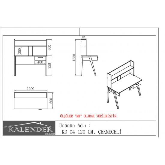Kalender Dekor KD-06 Çalışma Masası Ceviz-Beyaz