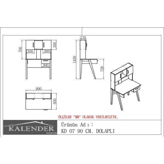 Kalender Dekor KD-07 Çalışma Masası Ceviz-Doğal