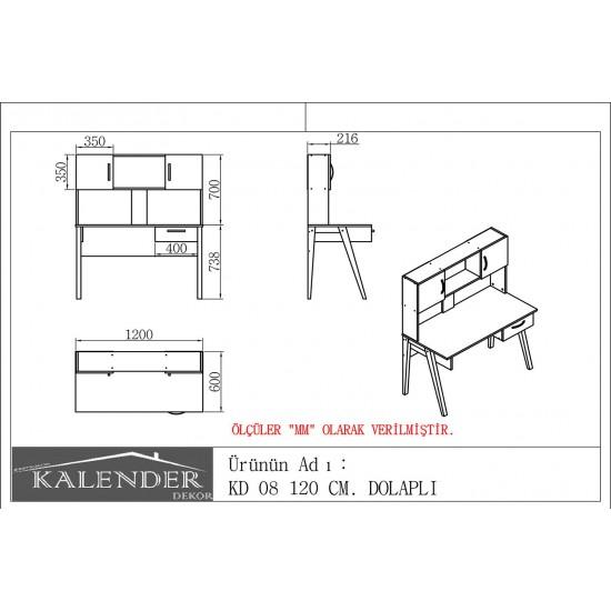 Kalender Dekor KD-08 Çalışma Masası Ceviz-Beyaz