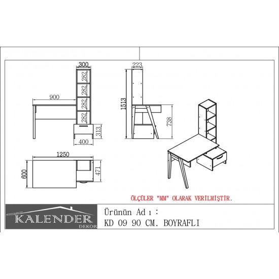 Kalender Dekor KD-09 Çalışma Masası Ceviz-Doğal