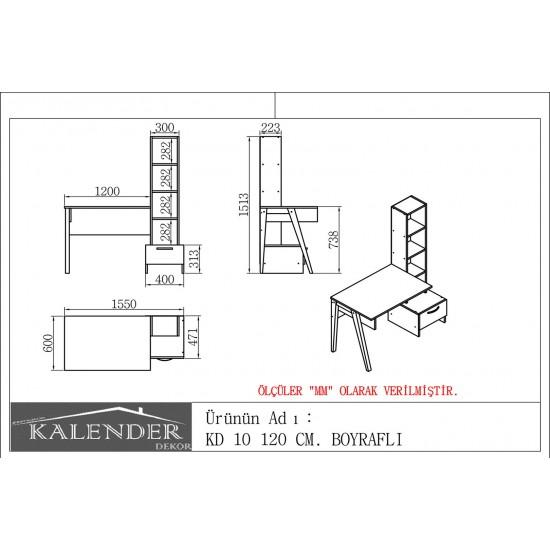 Kalender Dekor KD-10 Çalışma Masası Ceviz-Beyaz