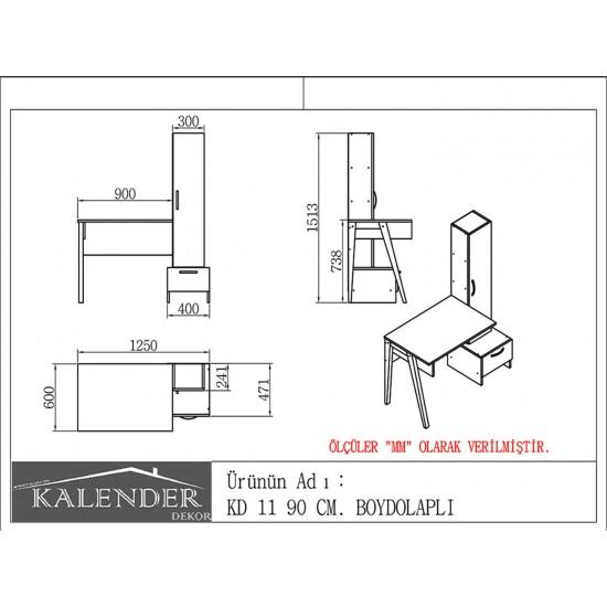 Kalender Dekor KD-11 Çalışma Masası Ceviz-Beyaz