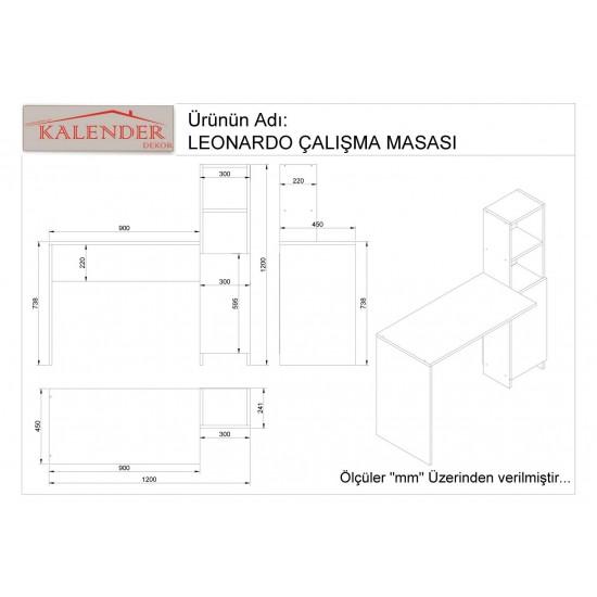 Kalender Dekor Leonardo Çalışma Masası Ceviz-Beyaz