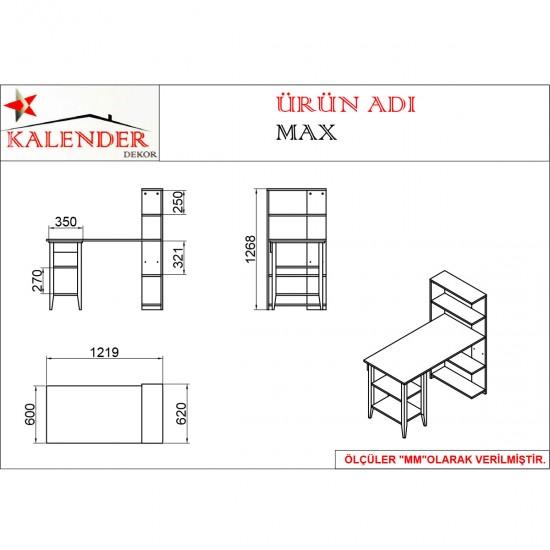 Kalender Dekor Max Çalışma Masası MAX03 Ceviz-Beyaz