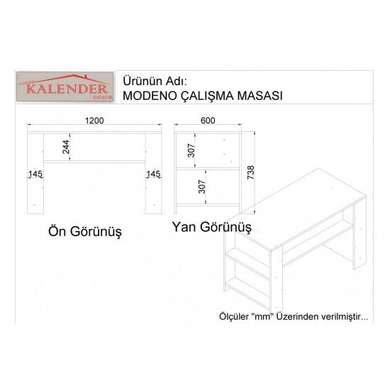 Kalender Dekor Modeno Çalışma Masası Ceviz-Beyaz