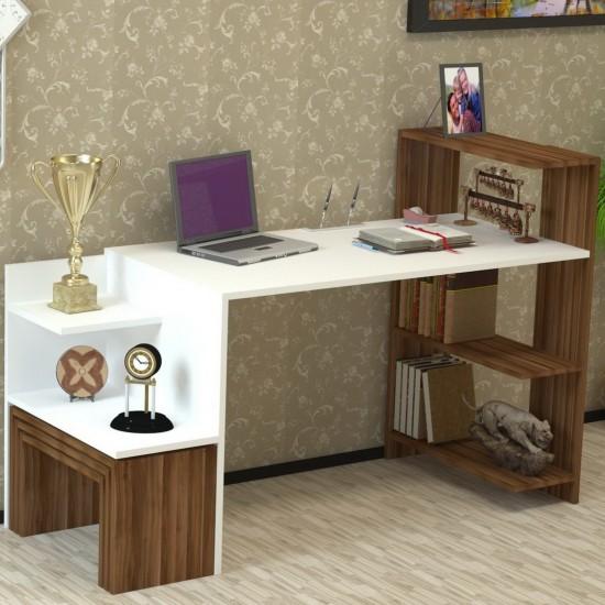 Kalender Dekor New Dekoty Çalışma Masası Ceviz-Beyaz