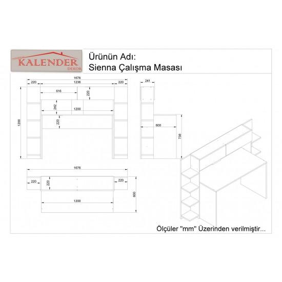Kalender Dekor Siena Çalışma Masası Beyaz