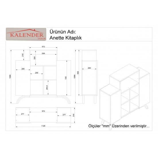 Kalender Dekor Anetta Konsol Kitaplık Beyaz