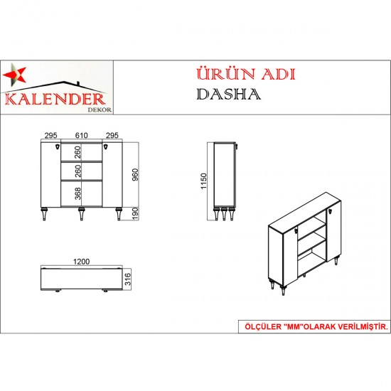 Kalender Dekor Dasha Mutfak Dolabı DSH03 Ceviz/Beyaz