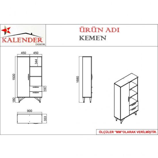 Kalender Dekor Kemen Mutfak Dolabı KM03 Ceviz/Beyaz