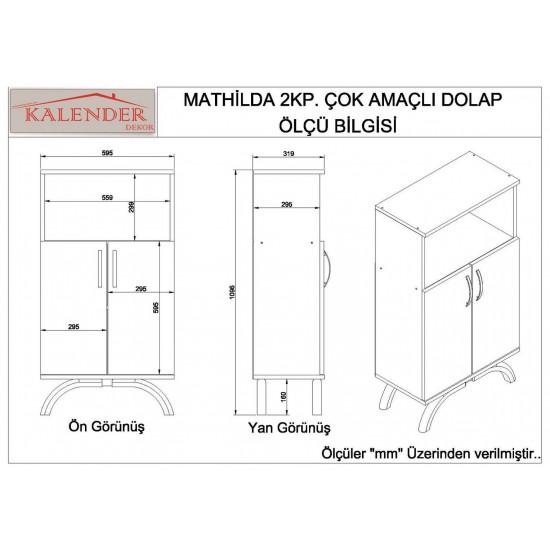 Kalender Dekor Mathilda Çok Amaçlı Mutfak Dolabı Ceviz-Beyaz