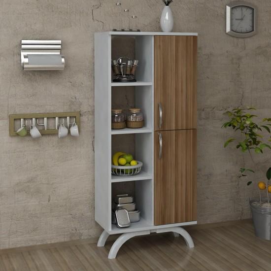 Kalender Dekor Pandora Çok Amaçlı Mutfak Dolabı Ceviz-Beyaz