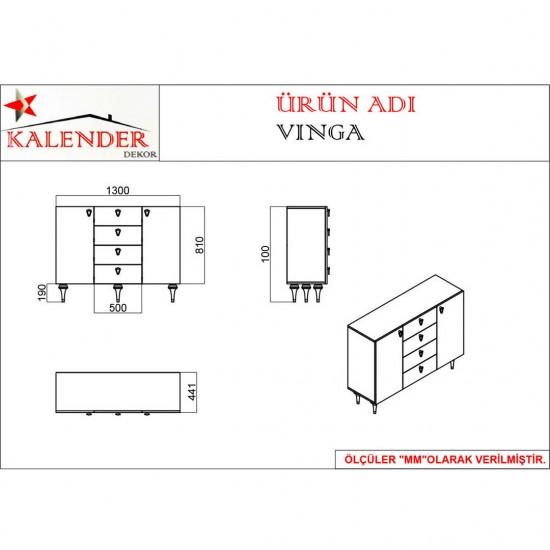 Kalender Dekor Vinga Mutfak Dolabı VNG03 Ceviz-Beyaz