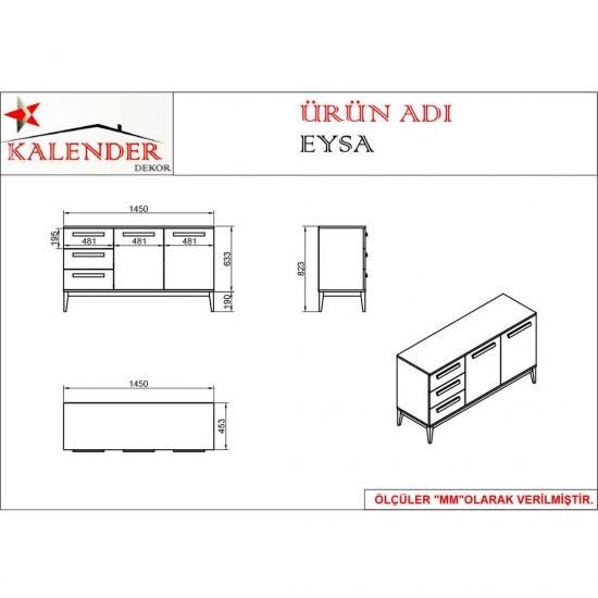 Kalender Dekor Eysa Şifonyer EYS03 Ceviz-Beyaz