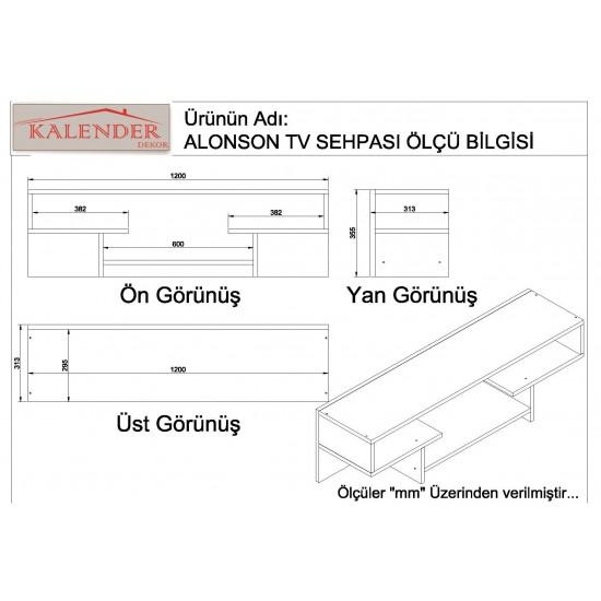 Kalender Dekor Alanson Tv Ünitesi Ceviz-Beyaz