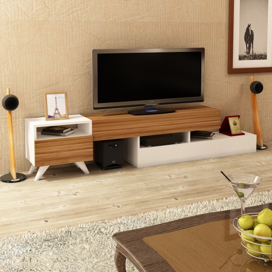 Kalender Dekor Antares TV Ünitesi Ceviz-Beyaz
