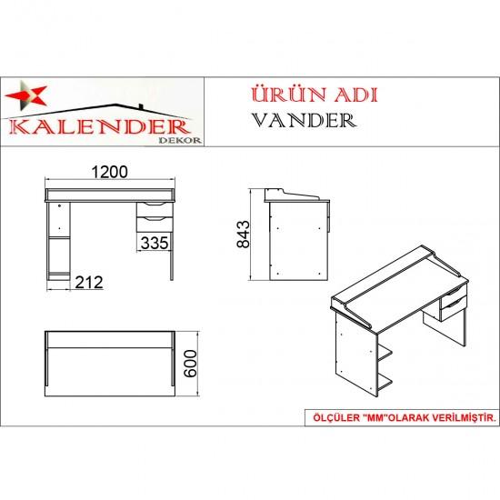 Kalender Dekor Vander Çalışma Masası VND05 Ceviz