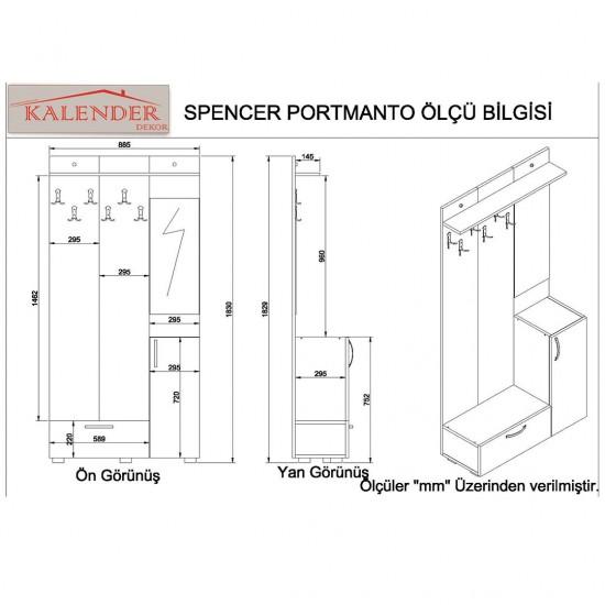 Kalender Dekor Spencer Vestiyer Ceviz-Beyaz